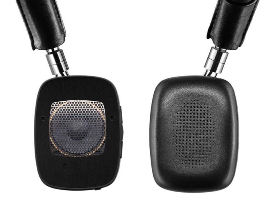 De Bowers & Wilkins P5 Wireless heeft met leer beklede speakers